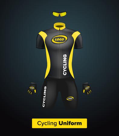 Realistische vector fietsen uniform template. Zwart en geel. Branding mockup. Fiets of fiets kleding en uitrusting. Speciale kit - korte mouwen, handschoenen en een zonnebril. Vooraanzicht Stock Illustratie