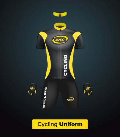 Realistic vector cycling uniform template. Black and yellow. Branding mockup. Bike or Bicycle clothing and equipment. Special kit - short sleeve jersey, gloves and sunglasses. Front view Vettoriali