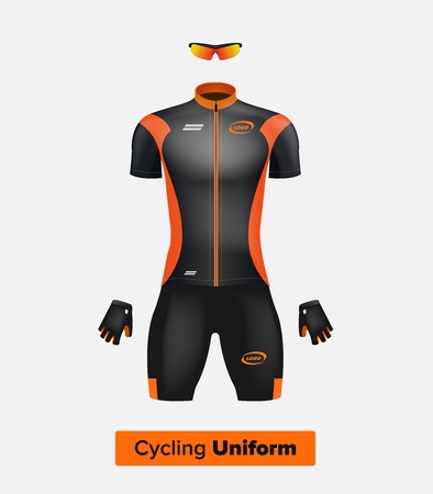 Realistic vector cycling uniform template. Black and orange. Branding mockup. Bike or Bicycle clothing and equipment. Special kit - short sleeve jersey, gloves and sunglasses. Front view.