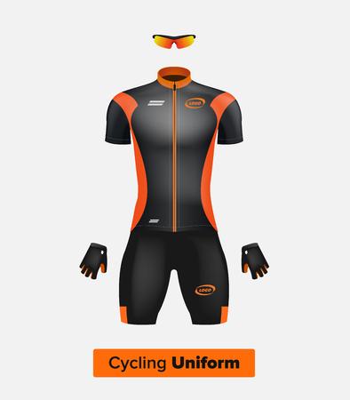 Realistische vector fietsen uniform template. Zwart en oranje. Branding mockup. Fiets of fiets kleding en uitrusting. Speciale kit - korte mouwen, handschoenen en een zonnebril. Vooraanzicht. Stock Illustratie