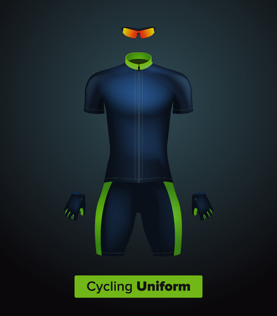 biking glove: Realistic vector cycling uniform template. Blue and green. Branding mockup. Bike or Bicycle clothing and equipment. Special kit: short sleeve jersey, gloves and sunglasses. Front view