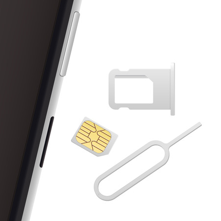 nano: Smartphone, Small Nano Sim Card, Sim Card Tray and Eject Pin. Vector objects isolated on white. Realistic vector icons. Top view
