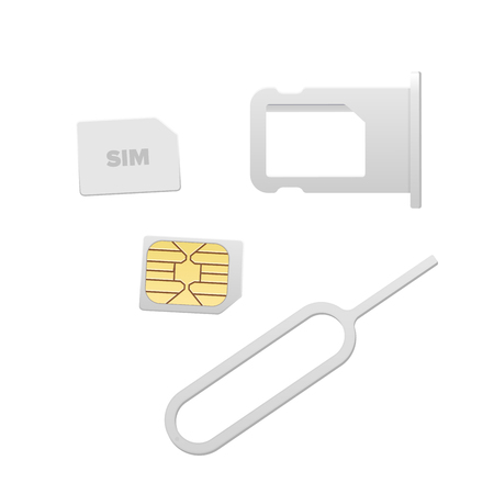 Small Nano Sim Card, Sim Card Tray and Eject Pin for Smartphone. Vector objects isolated on white. Realistic vector icons. Top view