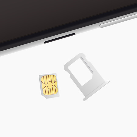 Small Nano Sim Card, Sim Card Tray for Smartphone. Vector objects isolated on white. Realistic vector icons. Top view.