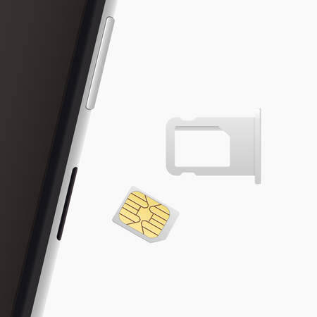 sim card: Small Nano Sim Card, Sim Card Tray for Smartphone. Vector objects isolated on white. Realistic illustration. Top view