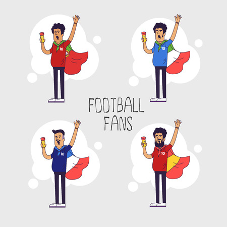 paraphernalia: Set of the international fans of national football teams. Characters with flag. Flat line style design Illustration