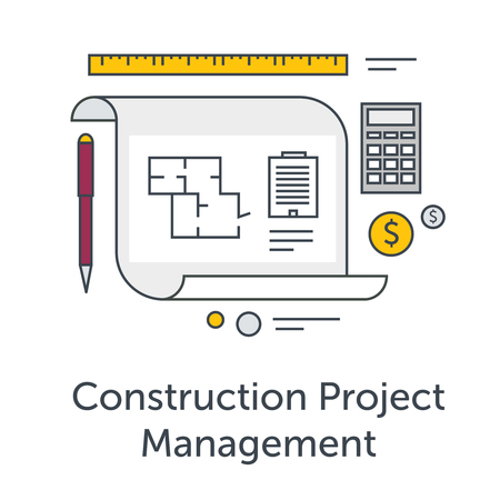 construction management project: Construction Project Management thin line flat icons. Architects workplace illustration. Architecture planning on paper. Concept illustration for architectural project, technical project.