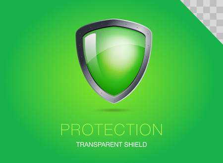Realistic metal shield with transparent armored glass. Vector illustration of a protection or security. Green background