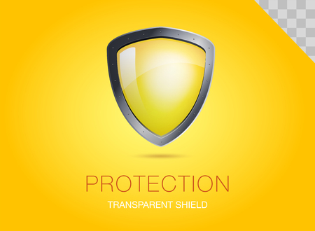 Realistic metal shield with transparent armored glass. Vector illustration of a protection or security. Yellow background