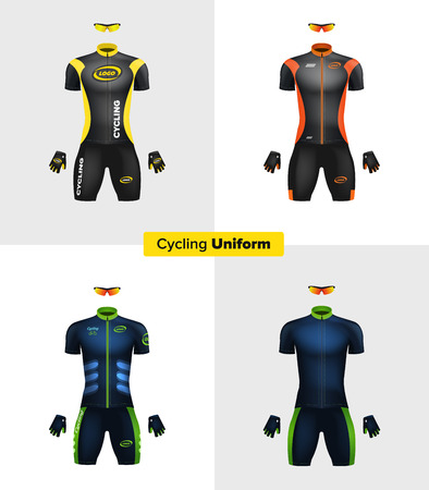 Realistic vector cycling uniforms. Branding mockup. Bike or Bicycle clothing and equipment. Special kit: short sleeve jersey, gloves and sunglasses. Front view Ilustração
