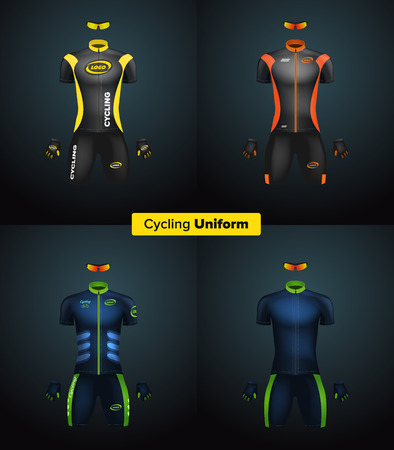 sportswear: Realistic vector cycling uniforms. Branding mockup. Bike or Bicycle clothing and equipment. Special kit: short sleeve jersey, gloves and sunglasses. Front view Illustration
