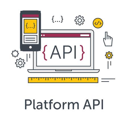 Dunne lijn vlakke design concept banner voor de ontwikkeling van software. Platform API icoon. Programmeertaal, testen en bug fixing op laptop en smartphone. Moderne vector illustratie Stock Illustratie