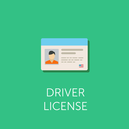 driver license: Car driver license identification with photo. Driver license vehicle identity. Corporate badge ID. Flat icon.