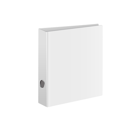 Blank closed office binder. White cover. Isometric view, on white background. Vector illustration. Illustration