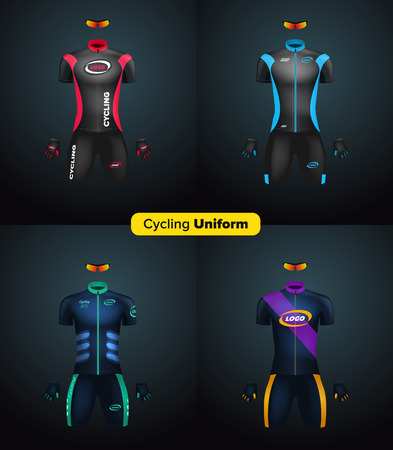 biking glove: Realistic cycling uniforms. Branding mockup. Bike or Bicycle clothing and equipment. Special kit: short sleeve jersey, gloves and sunglasses. Front view.