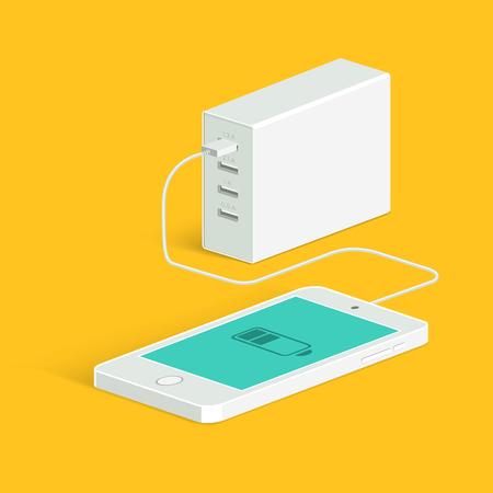 Powerbank opladen van een witte smartphone. Isometrisch aanzicht. vlakke stijl