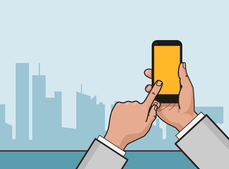 flat linear illustration. Hand with smartphone and city landscape in the background. Illustration