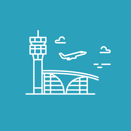 avia: Airport building. Plane taking off. line icon