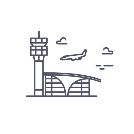 plane landing: Airport building. Plane is landing. line icon.