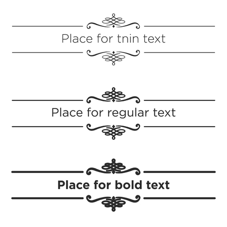 devider: Retro text dividers set. Vintage border elements. Different size of stroke for thin, regular and bold text Illustration