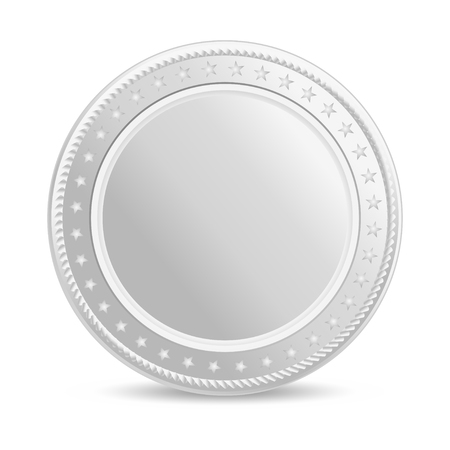Realistic silver coin. Blank coin with shadow. Front view