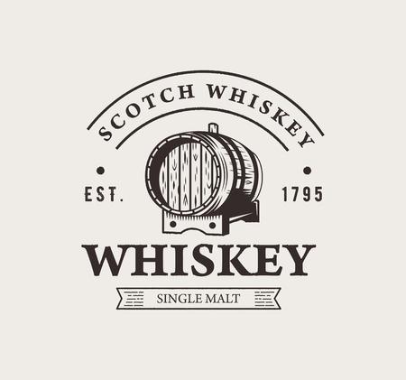 Ręcznie rysowane logo whisky. Typografia monochromatyczne hipster rocznika etykiety. Do drukowania plakatów lub t-shirtów.