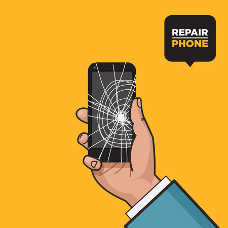 crashed: Smartphone with a cracked screen in a mans hand. Broken phone. Crack on screen. Vector illustration. Pop art style