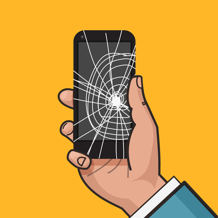 Smartphone with a cracked screen in a mans hand. Broken phone. Crack on screen. Vector illustration. Pop art style.