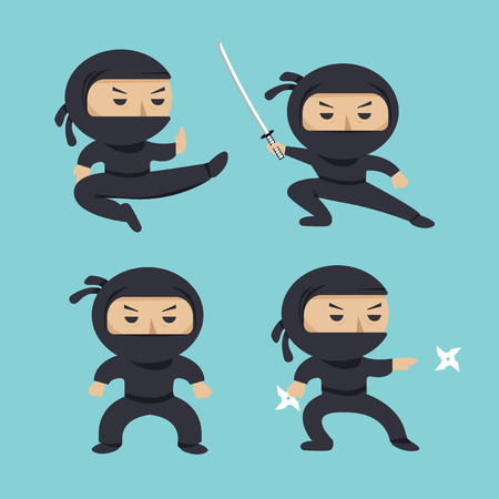 Set of ninja characters showing different actions. Serious ninja with sword running, attacking, throwing star, jumping, kicking, hitting. Flat style illustration Stock Photo