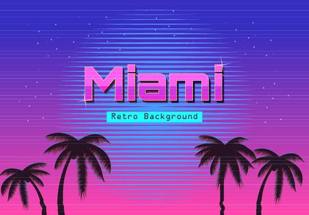 80s Retro Neon gradient background. Palms and sun. Tv glitch effect. Sci-fi Miami beach Фото со стока - 68423780