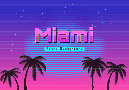 80s Retro Neon gradient background. Palms and sun. Tv glitch effect. Sci-fi Miami beach Illustration