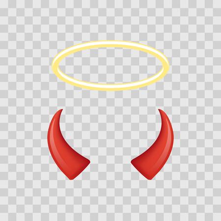 devil horns: Angel halo and devil horns isolated on transparent checkered background. Vector illustration