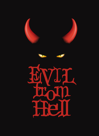 red metal: Evil from Hell. T-Shirt design, poster art. Red devi horns and demon eyes on the dark