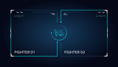 Versus screen design. Announcement of a two fighters. Blue futuristic neon VS letters. Thin line borders. illustration on the dark background. Future style Stock Photo