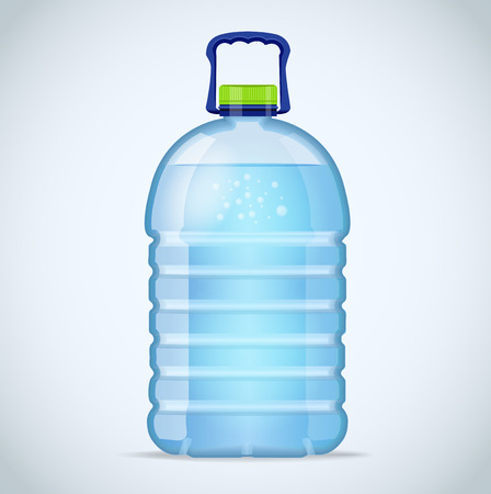 litre: Realistic large bottle with clean blue water isolated on the white background. Vector mockup. Front view