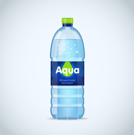 distilled water: Realistic bottle with clean blue water isolated on the white background. Vector mockup. Front view