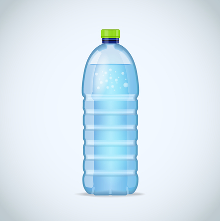 litre: Realistic bottle with clean blue water isolated on the white background. Vector mockup. Front view