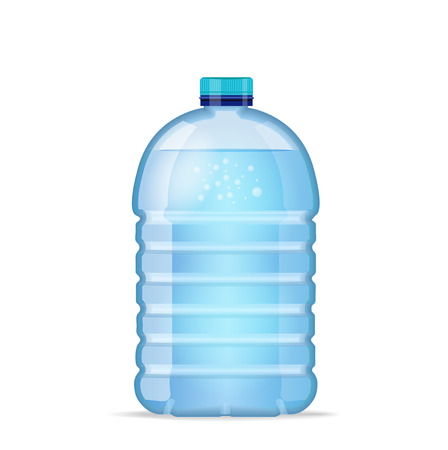 Realistic large bottle with clean blue water isolated on the white background. Vector mockup. Front view