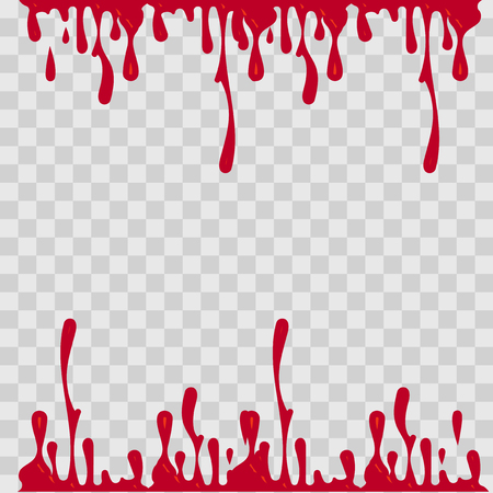 paint drop: Paint drop abstract illustration. Red blood on checkered transparent background. Flat style Illustration