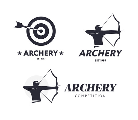 bowman: Abstract archery logo. Vector badge concept. Archer with sport bow and target with arrow. Archery competition Illustration
