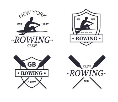 équipe d'aviron logo. emblème vecteur de l'équipage d'aviron avec palettes. silhouette rower