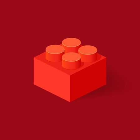 Isometric Plastic Building Block with shadow. Vector red brick Illustration