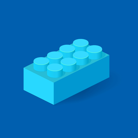 edutainment: Isometric Plastic Building Block with shadow. Vector blue brick