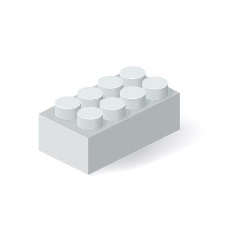 edutainment: Isometric Plastic Building Block with shadow. Vector grey brick Illustration