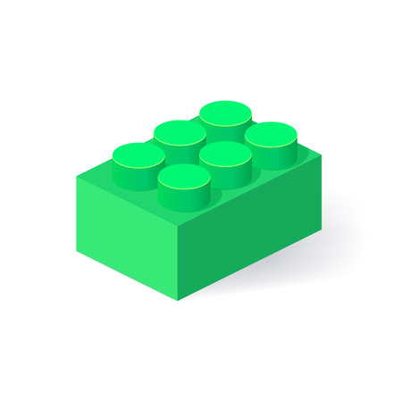 edutainment: Isometric Plastic Building Block with shadow. Vector colored brick