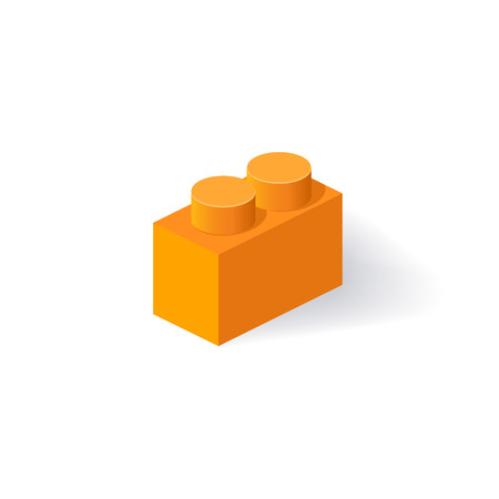 edutainment: Isometric Plastic Building Block with shadow. Vector orange brick