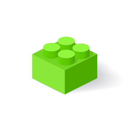 Isometric Plastic Building Block with shadow. Vector green brick