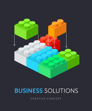 edutainment: Business solution flat isometric concept. Vector illustration of plastic building blocks