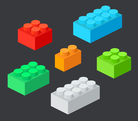 Isometric Plastic Building Blocks with shadow. Vector set of the colored bricks Illustration