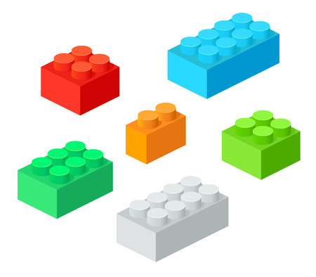 edutainment: Isometric Plastic Building Blocks with shadow. Vector set of the colored bricks.